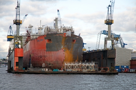 tosses: Hamburg Germany june 2013:Dry dock in the largest port in Germany - Hamburg Editorial