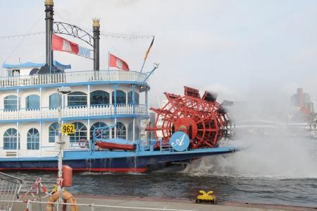 propel: Hamburg Germany September 2012:Paddleboat or riverboat on the Hamburg port