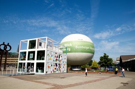 evening newspaper: Hamburg Germany September 2012 Advertising balloon sightseeing in Hamburg Editorial