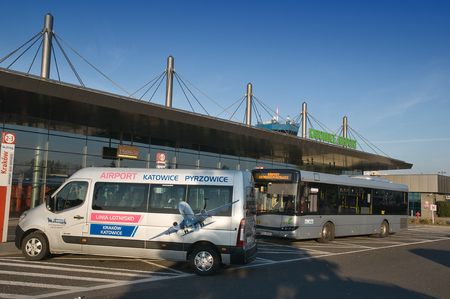 PYRZOWICE, POLAND - november 2015: Exterier KatowiceKatowice airport - Terminal B