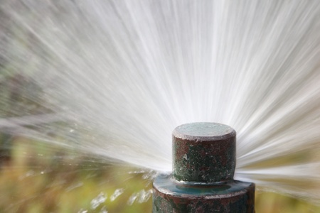 Details of a working lawn sprinkler head watering Stock Photo