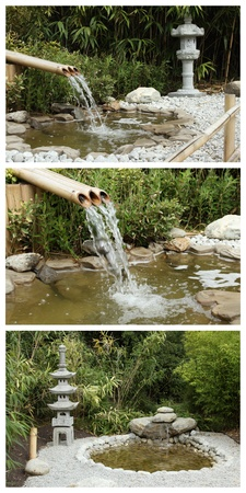 bamboo fountain: details of a pond with funtain in a zen garden