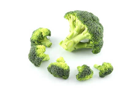 details of broccoli isolated on white