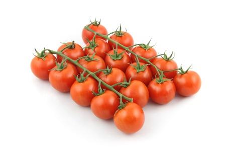 details of cherry tomato isolated on white Stock Photo