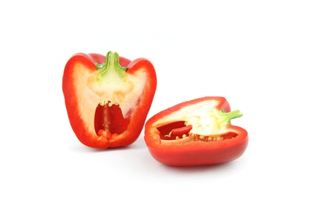 details of a red bell pepper isolated on white Stock Photo