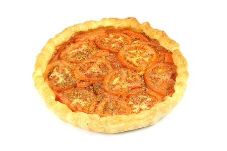 herbs de provence: details of a tomatoes pie with spice Stock Photo