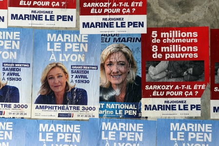 presidential election: Lyon, France, april 01 2012,  poster of the electoral campaign of  Marine Lepen,  candidate to the presidential election of republic french in 2012 .