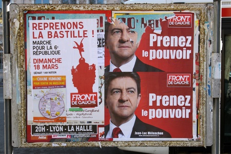 presidential election: poster of the electoral campaign of Jean-Luc M�lenchon, a candidate to the presidential election of republic french in 2012