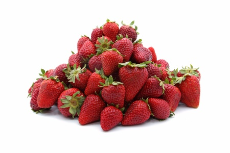 details of fresh strawberries isolated on white