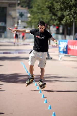 Lyon, France  September 22, 2013  Detail of a cession of exhibition of freestyle slalom in skate inline