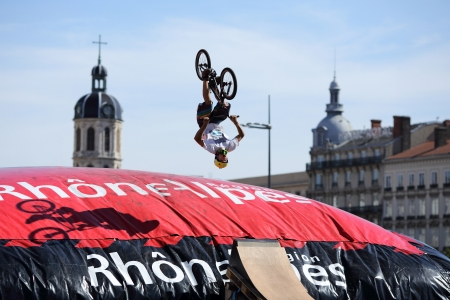 Lyon, France. September 22, 2013. Details of a bmx jumping on a giant air-Bag at Lyon during the lugdunum roller contest. Free access to everybody, skate, bmx... Editorial