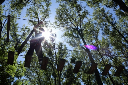 Details of a girl on aerial walkway in adventure park with trees in background.