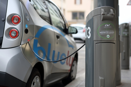 lLyon, France. Decemer 22, 2013. Details of a new concept at lyon, bluely is sharing electrical car.