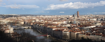 Details of a panoramic view of Lyon