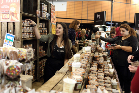 Lyon, France. November 8, 2015. Details of the fifth edition of the salon du chocolat in Lyon. Many chocolatiers, chefs, pastry chefs and young talents celebrated chocolate and cocoa in all its forms. Editorial