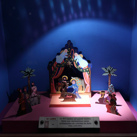 Lyon, France. December 26, 2015. Details of nativity scene during during the Christmas season at the basilica of Fourvière. Editorial