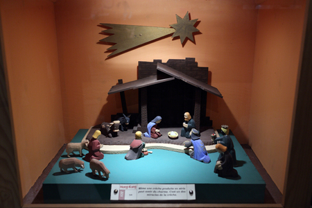 Lyon, France. December 26, 2015. Details of nativity scene during during the Christmas season at the basilica of Fourvière.