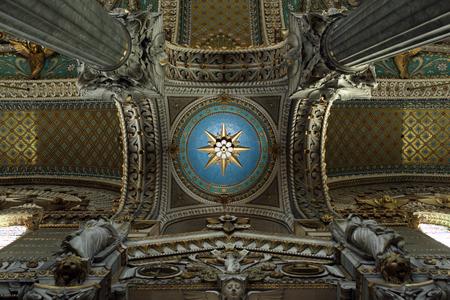 Lyon, France. December 26, 2015. Details of a beautiful cupolas of the basilica of Fourvière.