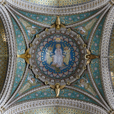 Lyon, France. December 26, 2015. Details of a beautiful cupolas of the basilica of Fourvière. Editorial