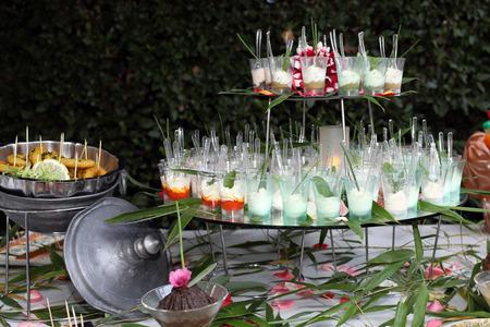 Details of a beautiful wedding food buffet. Stock Photo