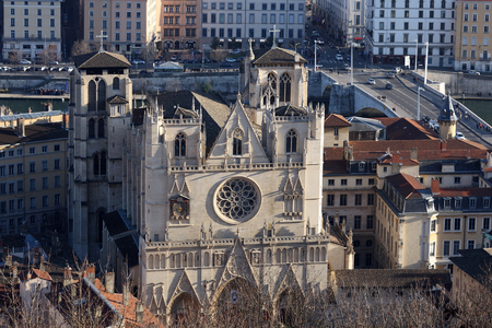 Details of the cathedral Saint Jean at the old Lyon view from Fourvière.