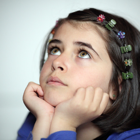 Portrait of a caucasian thoughtful girl. Stock Photo