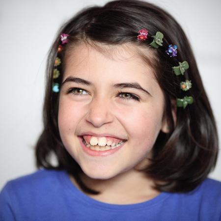 Details of a beautiful caucasian smiling girl.