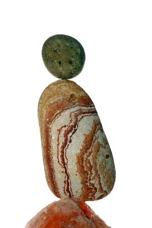 balanced rocks: Details of a stone balance isolated on white background.