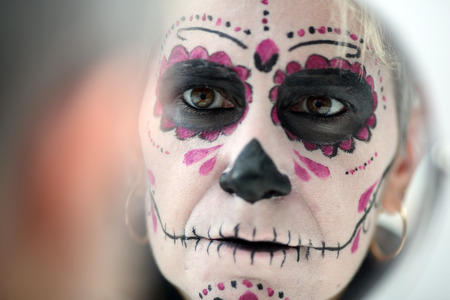 Details of a makeup of a woman during halloween Stock Photo