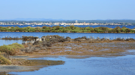 View of the Bassin de Thau from Sète with Mèze in background
