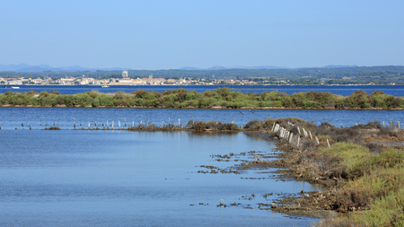 View of the Bassin de Thau from Sète with Mèze in background. Stock Photo