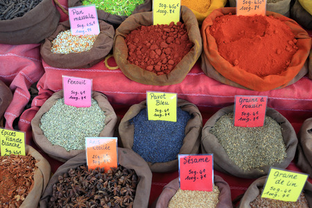 Details of different tipes of spice and food grain.