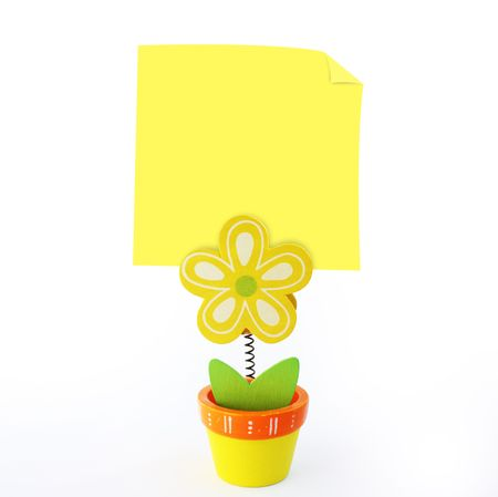 wood craft: Wood craft color flower note holder with empty yellow stick note