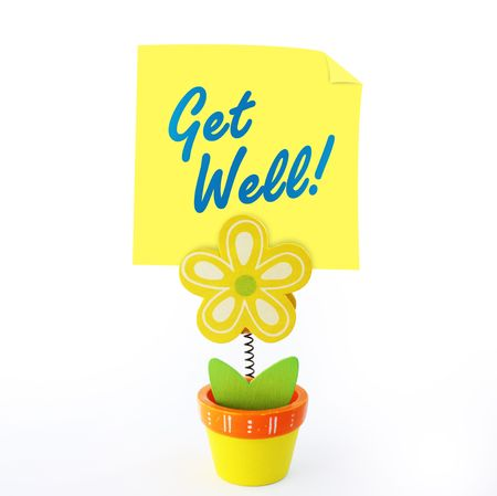 wood craft: Wood craft color flower note holder with yellow stick note saying get well