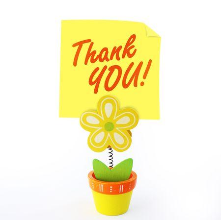 merci: Artisanat du bois de couleur porteur de notes de fleur avec note jaune b�ton dire merci