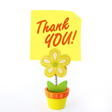 saying: Wood craft color flower note holder with yellow stick note saying thank you