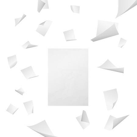 Flying white blank sheets of paper