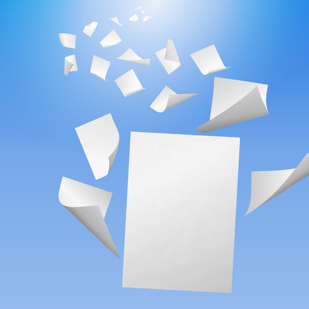 sheet of paper: White blank sheets of paper with bent corners flying away into the blue sky