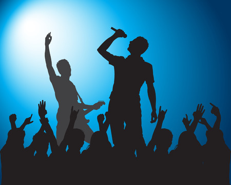 Rots silhouetten van muzikanten