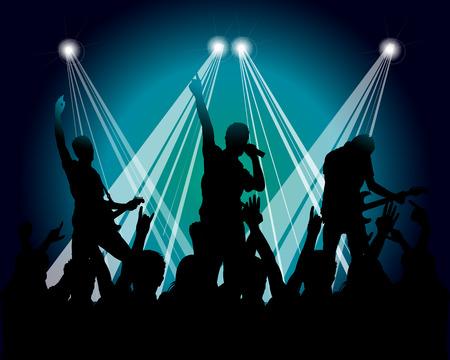 grunge musicians silhouette Illustration