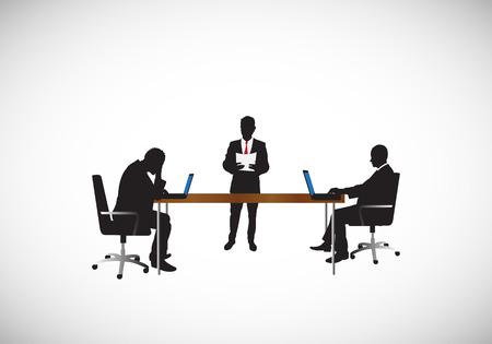 mannen werken op kantoor Stock Illustratie