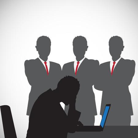 silhouet van mensen mobbing Stock Illustratie
