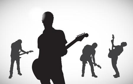 silhouetten van muzikanten Stock Illustratie