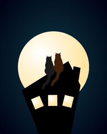 katten cartoon met volle maan Stock Illustratie