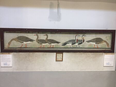 Cairo, Egypt - 07 10 2019: The Egyptian Medium Geese Painting which belongs to the 4th dynasty