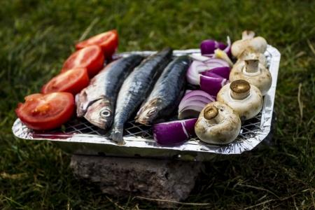 Deliciosos pescados y verduras en una barbacoa desechable Foto de archivo