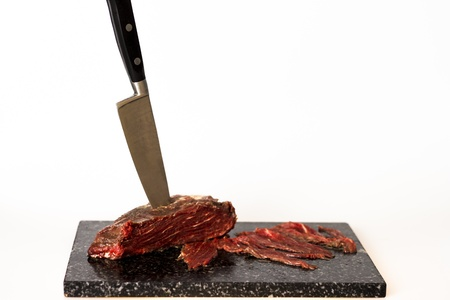 Fillet steak with knife photo