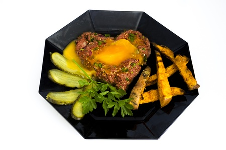 Heartshaped steak tartare photo