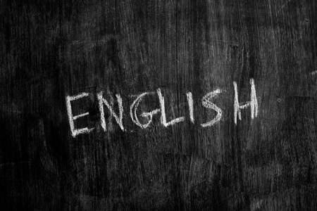 The word enlish written on blackboard photo