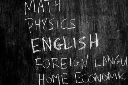 School subjects on blackboard photo